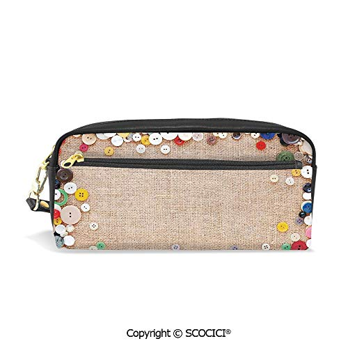 Printed Pencil Case Large Capacity Pen Bag Makeup Bag Buttons Collection Fabric Texture Canvas Frame Sewing Needlecraft Contemporary Picture for School Office Work College Travel