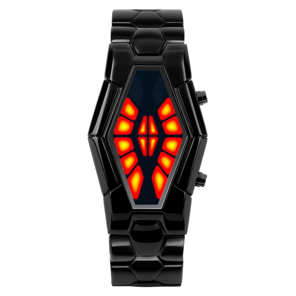 Men's waterproof sports watch,Cobra shape zinc alloy strap fashion cool two-color led boot animation wristwatch-E