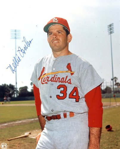 (Nellie Briles (D. 2011) Autographed/ Original Signed 8x10 Photo Showing Him with the St. Louis Cardinals, His First Team)