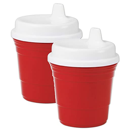 Red Cup Sippy Cup (2 Pack) - 8 Oz. Baby Drinkware With Snug Spill Proof Lid - Alternative To Baby Bottles