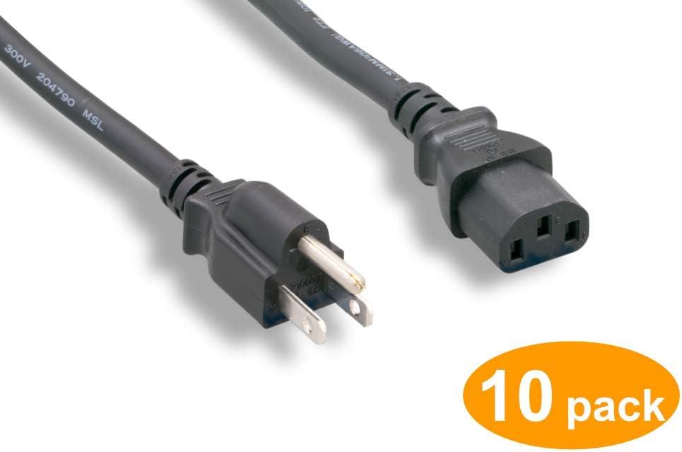 Black Cablelera AC Power Cord 10pack 10A 125V NEMA 5-15P to C13 18AWG 12