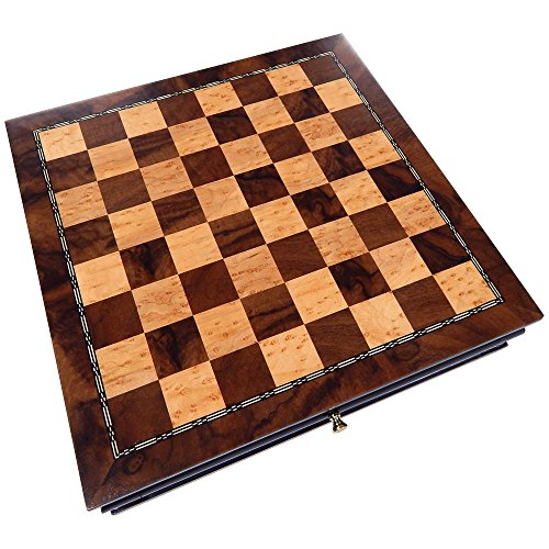 Vada Burl Wood Inlaid Chess Cabinet with Drawer – 13 Inch Set – Board Only, No Pieces ()