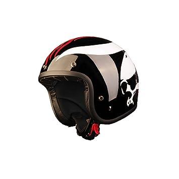Black Racer - Casco para moto custom jet negro de fibra, homologado en Italia ECE