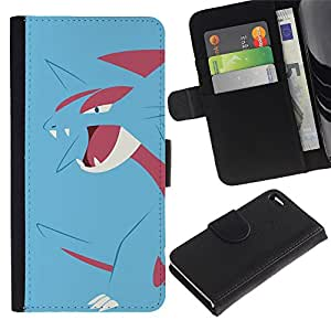 NEECELL GIFT forCITY // Billetera de cuero Caso Cubierta de protección Carcasa / Leather Wallet Case for Apple Iphone 4 / 4S // Azul de Poke Monster Dragón