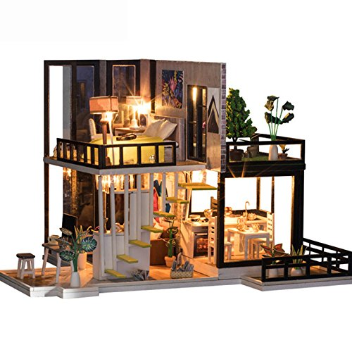 SODIAL DIY Doll House Wooden Miniature Dollhouse Miniature Doll House with Furniture Kit Villa LED Lights Birthday Gift 162382