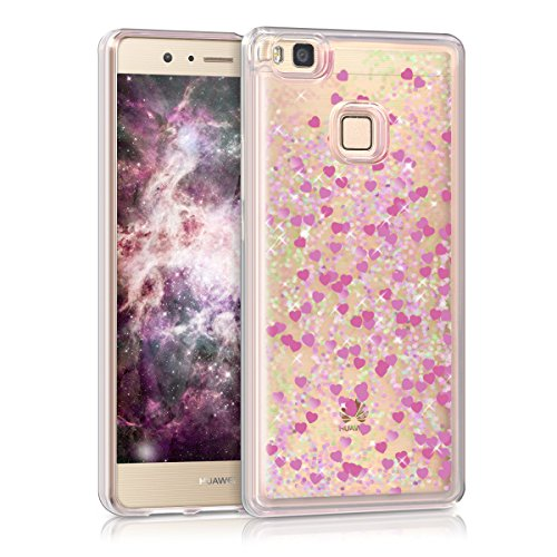 kwmobile TPU Silicone Case for Huawei P9 Lite - Soft Flexible Protective Cover with Flowing Liquid - Dark Pink/Transparent
