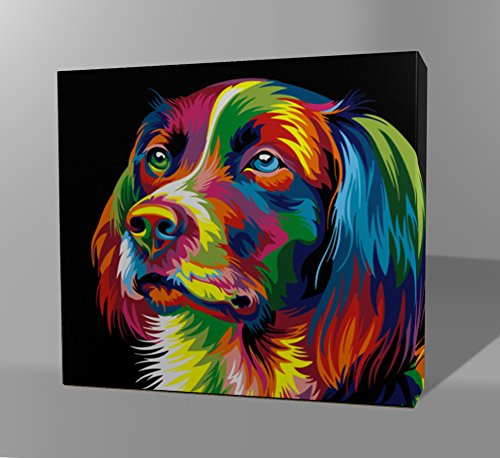 Wooden Framed Paint By Numbers Kit For Adults – DIY Oil Painting -(16 by 20 Inch) - Dog Series (Dog Abstract)