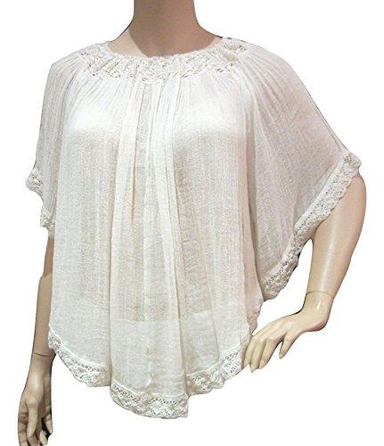 Denim & Supply Ralph Lauren Womens Juniors Gauze Lace-Trim Blouse Ivory M -