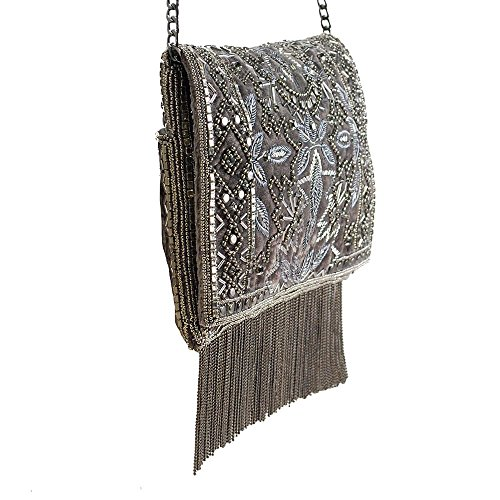 20s Embellished Mary Clutch Pewter Frances Crossbody Multi Roaring Antique Velvet Handbag qECCfgwx