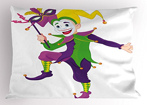 Iconic Couples Costumes (Mardi Gras Pillow Sham by Ambesonne, Cartoon Style Jester in Iconic Costume with Mask Happy Dancing Party Figure, Decorative Standard King Size Printed Pillowcase, 36 X 20 Inches, Multicolor)