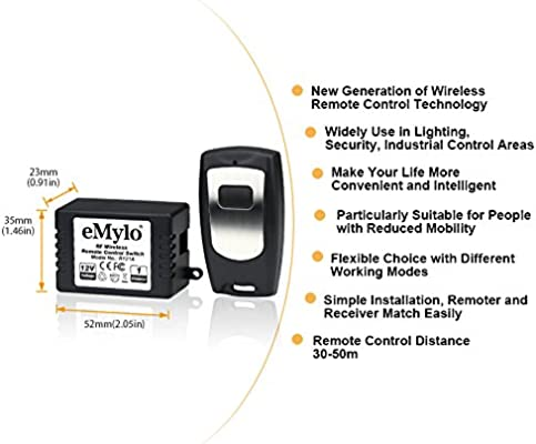 eMylo DC 12V 1 Channel 433Mhz RF Wireless Relay Remote Control Momentary Light Switch Self-lock Transmitter with Receiver for Home Use