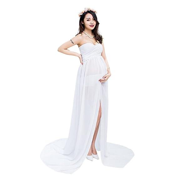 110a30c6417e Evedaily Femme Enceinte Robe Photographie Grossesse Maxi Longue Fendue Robe  Bustier Col V en Mousseline et