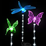 Solar Lights, Solarmks 2nd Generation Solar Powered Outdoor Multi-color Changing LED Stake Light, with a White LED Light Stake, Pack of 3 (Hummingbird, Dragonfly, Butterfly)