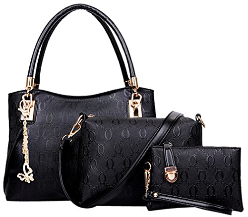 Womens 3 Piece Tote Bag Leather Handbag Purse Bags Set (Black) - 1