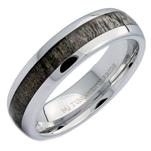 MJ Metals Jewelry 6mm Natural Deer Antler Inlay White Tungsten Carbide Ring Size 10
