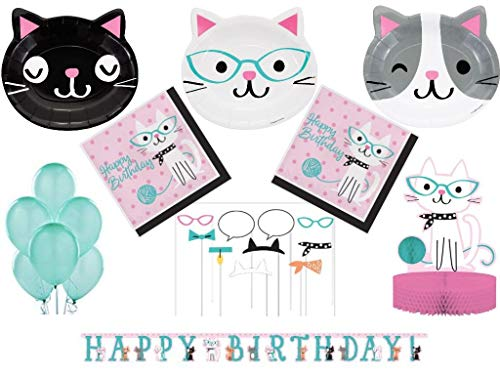 - Purr-fect Kitty Cat Girls Birthday Party Supplies Pack Includes Tableware and Decorations for 24 (83 Pcs)
