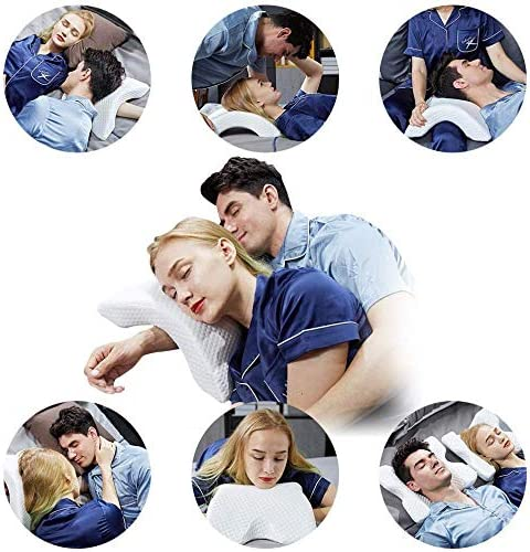 Anti Pressure Hand Pillow Arched Couples Cuddle Pillow Side Sleeper Pillows with Removable Pillowcase,Left 1 Cervical Vertebra Pillow Ergonomic Memory Foam Pillow for Neck and Shoulder Pain