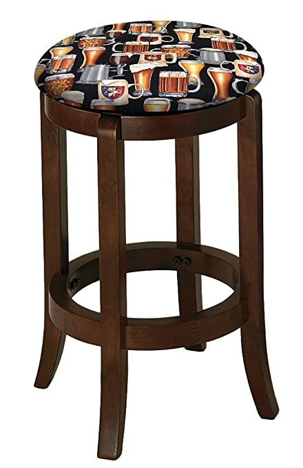 Bar Stool Espresso Cappuccino Wood 29u0026quot; Tall Kitchen Game Room Swivel  Seat Stool Featuring The