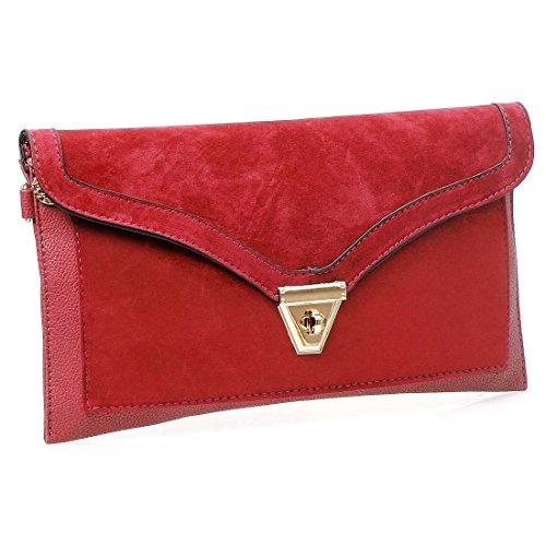 bmc-womens-ravishing-red-textured-pu-faux-leather-suede-topped-envelope-flap-handbag-fashion-clutch