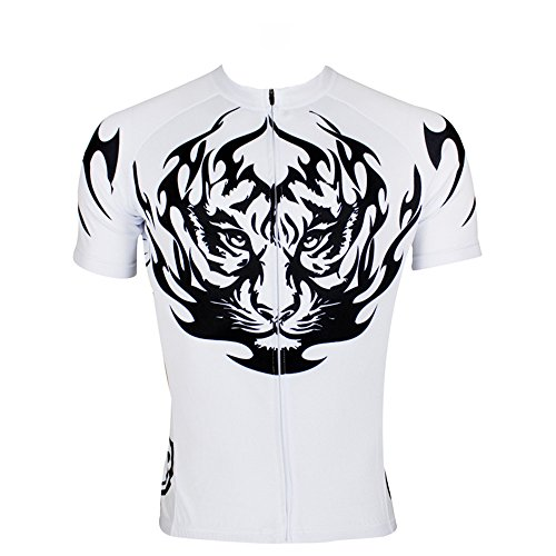 QinYing Mens Tiger Patterns King's Breathable Biking Cycling Jersey Top M