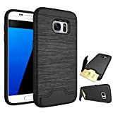 Asuwish Galaxy S7 Case,Phone Cases Wallet Shockproof with Card Holder Slot Kickstand Stand Hybrid Panel Silicone Soft Slim Protective Cover for Samsung Galaxy S 7 7S GS7 Women Men Girls Black