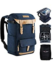 Camera Backpack, K&F Concept Multi-Functional Camera Rucksack with Rain Cover, Waterproof Photography Travel Camera Bag for Tripod DSLR Camera Lens Laptop Accessories - Upgrade Blue