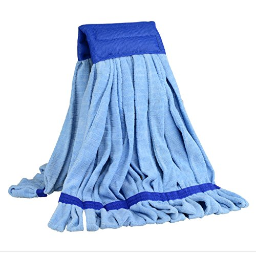 Large Microfiber Wet Mop Head Replacement | Cleans 3x Faster Than Conventional Cotton String Mops | For Commercial And Industrial Use | (Blue)