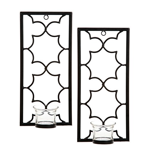 Hosley's Set of Two, 11'' High Iron Tea Light LED Candle Wall Sconces, Black. Hand made by Artisans. Ideal Gift for Wedding, Special Occasion, Spa, Aromatherapy, Meditation Setting. O3 by Hosley