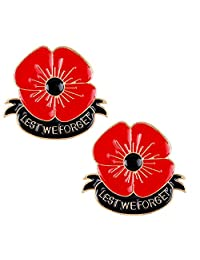 2 PCS Poppy Brooch Pin Lest We Forget Remember Flower Broach Memorial Day Remembrance Day Gifts