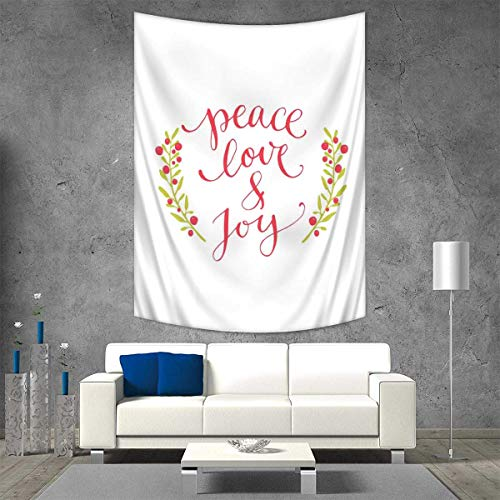 Anhuthree Quote Tapestry Table Cover Bedspread Beach Towel Peace Love Joy Calligraphic Xmas Text Winter Berries Wreath Dorm Decor 54W x 72L INCH Dark Coral Yellow Green