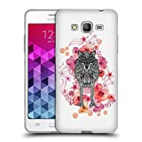 Official Monika Strigel Wolf Animals And Flowers Soft Gel Case for Samsung Galaxy Grand Prime