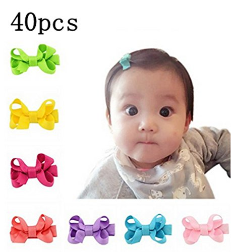 Wang-Data 20 Pair(40Pcs) 20 Colors Infant Baby Girls Hair Bows Clips Hairpin Barrettes Data Colours