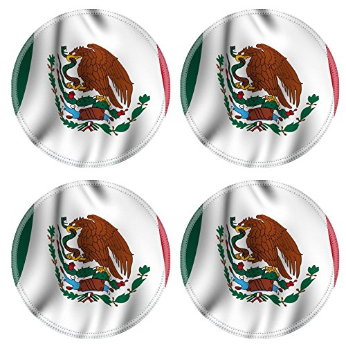 Liili Natural Rubber Round Coasters IMAGE ID: 3311885 Rendering of a waving flag of Mexico with accurate colors and design