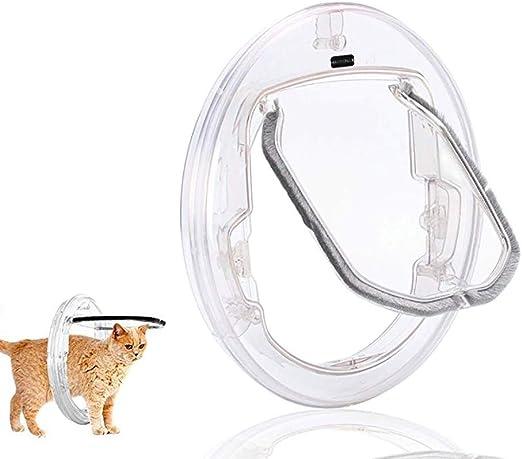 Puerta de vidrio para mascotas - Puerta redonda para mascotas Gato cachorro Puerta puerta corredera Mampara de puerta para perros, cierre de 4 vías, con solapa transparente para gatitos y cachorros: Amazon.es: