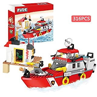 BRICK STORY Firefighting Series Blocks Educational Toys Fire Rescue Boat Building Blocks for Kids Fire Boats Construction Toys Assembling Toys Building Bricks Play Set Learning Toys 318 PCS 4173