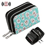 Te-Rich Womens RFID Blocking Canvas Zipper Security Credit Card Wallet Small Coin Purse (Mint + Daisy)