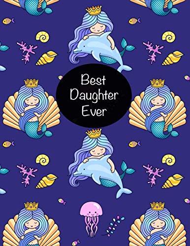 BEST Daughter Ever: Cute Little Mermaid Princess Sketchbook, Sticker Book for Girls, Kids & Teens | Large Fun Activity Book 8.5