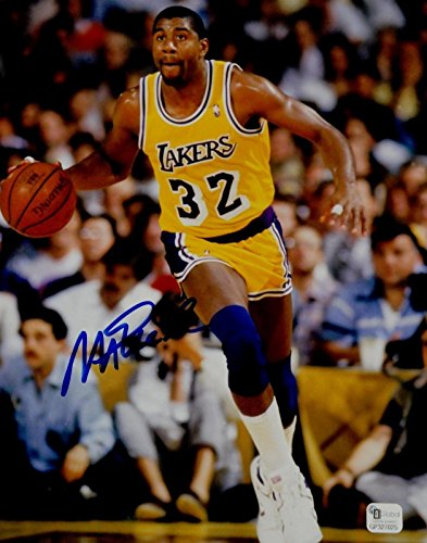 Magic Johnson Signed Autograph 8x10 Photo LA Lakers Dribbling Right Leg GAI COA
