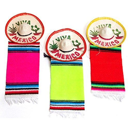 Mini Mexico Sombreros with Serape Fiesta Party Decoration Favors (12 Piece) by JDProvisions
