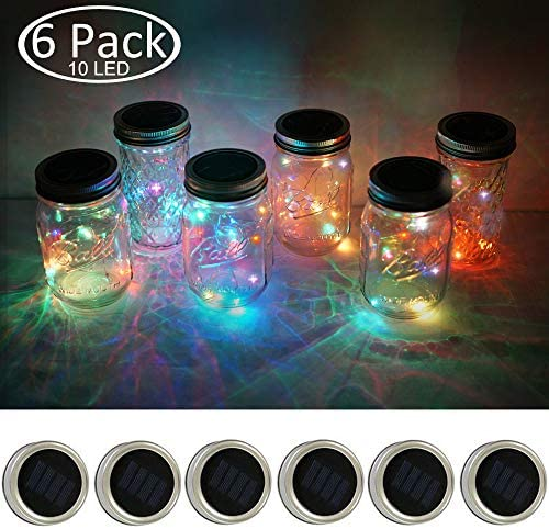 6 Pack Solar Mason Jar Lights 10 LED, Fairy Firefly Waterproof Lamp for Garden Deck Party Wedding Christmas Lighting Decoration 5 Colors Without Hanger