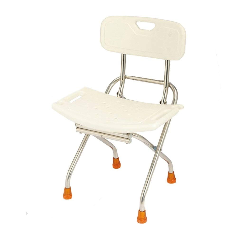 Beauty Stainless Steel Foldable Shower Stool Elderly/Pregnant Women with Backrest Safety Anti-Slip Shower Chair,Bearing Weight 130kg by BEAUTY--shower stool