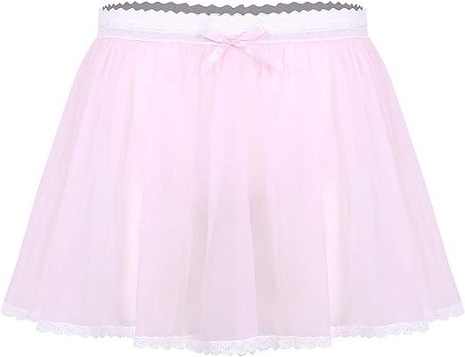 Men/'s Tulle Ruffled Short Skirt Panties See-through Crossdress Sissy Lingerie
