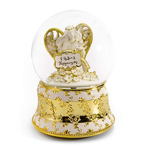 MusicBoxAttic Exquisite Pearl White and Ivory with Gold Accents Angel of Peace Water Globe - Over 400 Song Choices - Diamond's are A Girls Best Friend - Swiss