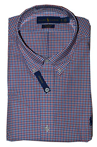 Polo Ralph Lauren Long Sleeve Gingham Poplin Classic Fit Cotton Stretch Oxford Shirt (X-Large, Red (Cotton Poplin Gingham Shirt)