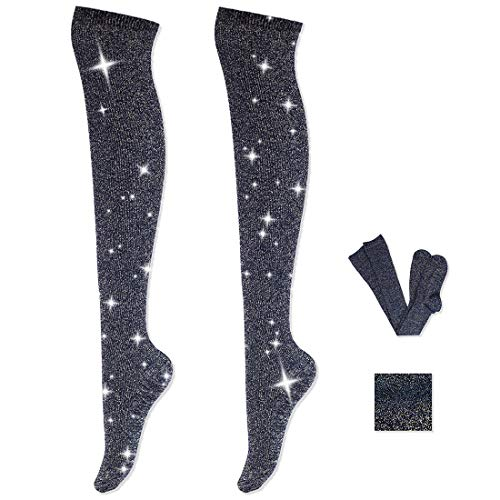 Women Fashion Knee High Socks - Novelty Opaque Knee High Boot Stockings for Fashion Women (Black Silver)