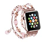 For Apple Watch Band Jewellery Iwatch Agate Wooden Creative Hand Strap Pink 38mm