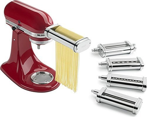 Kitchenaid Kpca set Stainless Steel Pasta thick egg noodles Cuter and Angel Hair Attachment for stand mixers (KitchenAid Pasta Deluxe Set)