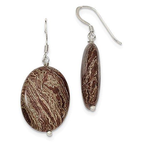 Sterling Silver Brown Jasper Dangle Earrings