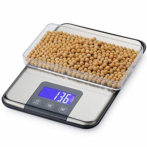 CGOLDENWALL - Báscula electrónica de precisión para cocina, balanza de horneado de acero inoxidable, balanza de alimentos para el hogar, 5 kg/10 kg/15 kg: ...