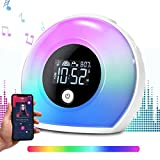 Uplayteck Light Kids Alarm Clock, Bluetooth Speaker Table Lamp Wake Up Alarm Clock for Girl, Tap to Change Color Lights, Night Light Music Player for Party, Camping, Birthday Gift
